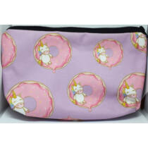 Kawaii unikornis kozmetikai táska fánkkal lila