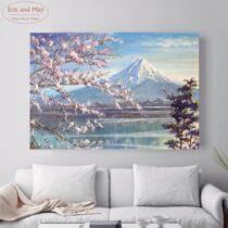 Fuji sakura virágzás idején poszter