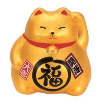 Maneki neko porcelán macska, arany 9 cm
