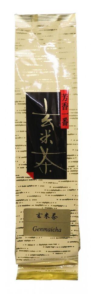 genmaicha japán szárított tea pörkölt rizs szemekkel