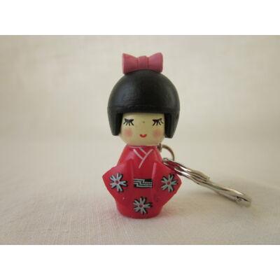Kokeshi baba kulcstartó - piros