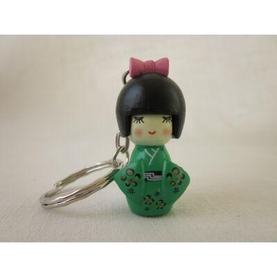 Kokeshi baba kulcstartó - zöld