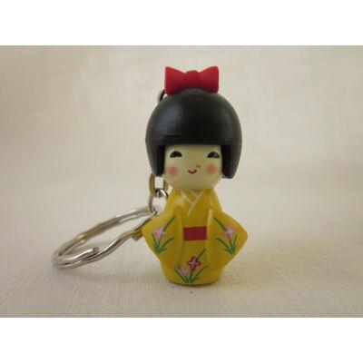 Kokeshi baba kulcstartó - sárga