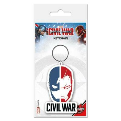Captain America Civil War Gumi- Kulcstartó Face Split 6 cm