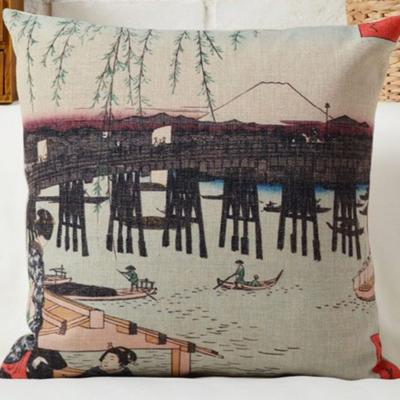 Díszpárna huzat Hokusai Fuji Csónak