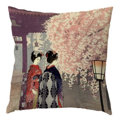 Díszpárna huzat Geisha és sakura