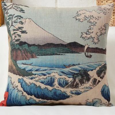 Díszpárna huzat Hokusai Fuji