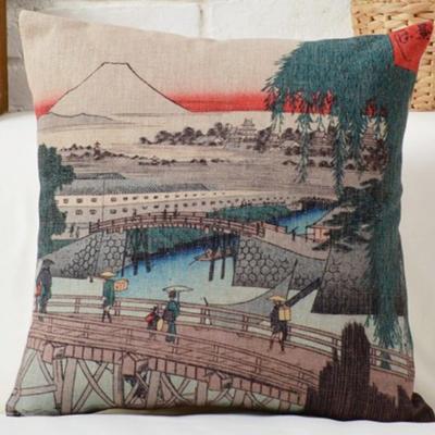Díszpárna huzat Hokusai Fuji Híd