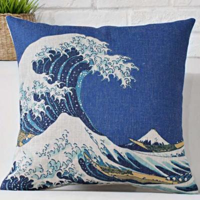 Díszpárna huzat Hokusai hullám kék