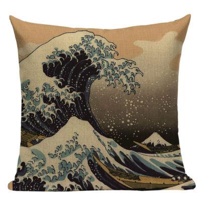 Díszpárna huzat Hokusai hullám