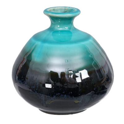 Japán kézzel készített kerámia váza Ikebanához_ Fekete-Azure