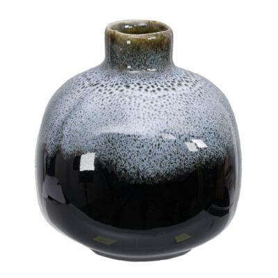 Japán kézzel készített kerámia váza Ikebanához_Fekete-cobalt