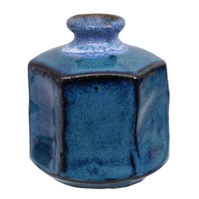 Japán kézzel készített kerámia váza Ikebanához_ Cobalt, szögletes