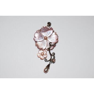 Sakura medál abalone kagylóból- rózsaszín