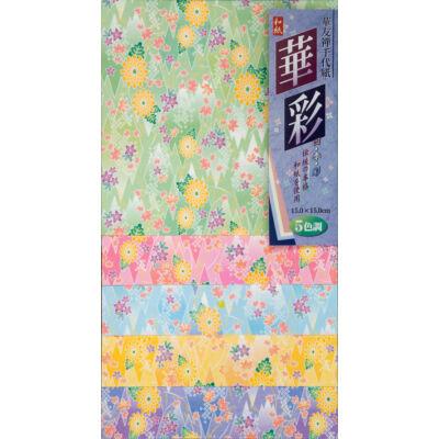 Sárga krizantém virágos origami papír 25 lap