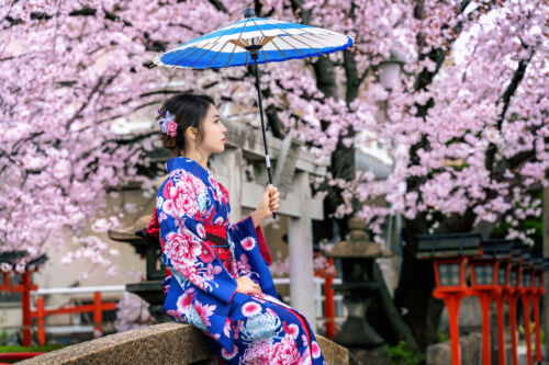 sakura, kimono, yukata, japan