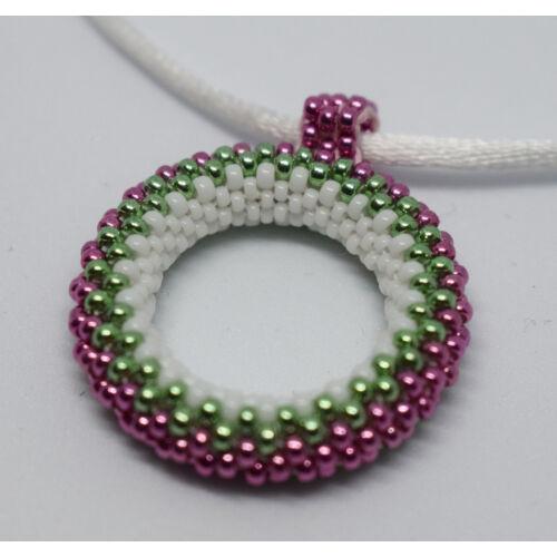 Peyote nyakék, medál rózsaszín-zöld-fehér