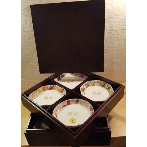 8 db-os porcelán tányér készlet, fa díszdobozban