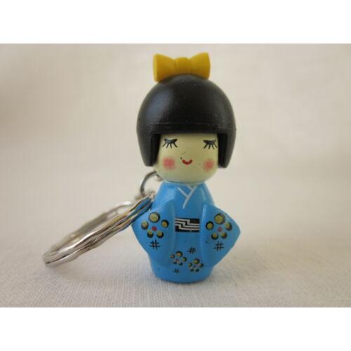Kokeshi baba kulcstartó - kék