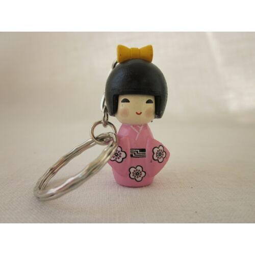 Kokeshi baba kulcstartó - rózsaszín