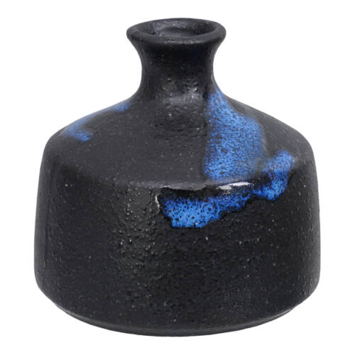 Japán kézzel készített kerámia váza Ikebanához_Fekete-Kék