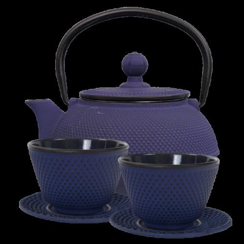 Öntött vas japán teáskészlet- 1 teáskanna, 2 csésze