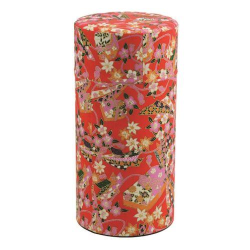 Piros virág teás tároló 7,4x15,5 cm