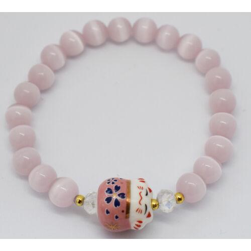Maneki Neko szerencse hozó karkötő rózsaszín holdkő
