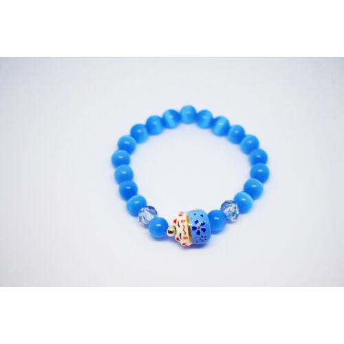 Maneki Neko szerencse hozó karkötő kék, holdkő