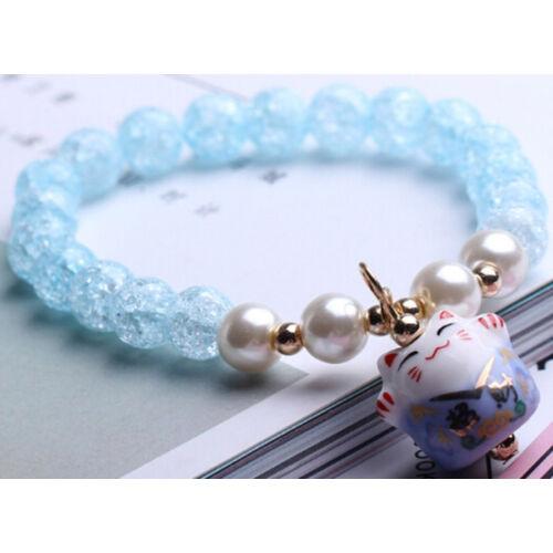 Maneki Neko szerencse hozó karkötő kék