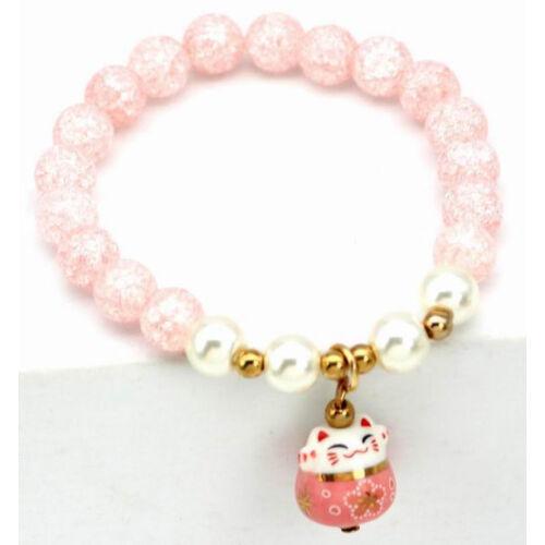Maneki Neko szerencse hozó karkötő rózsaszín