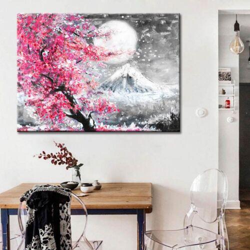 Fuji sakura virágzás idején poszter fekete-rózsaszín