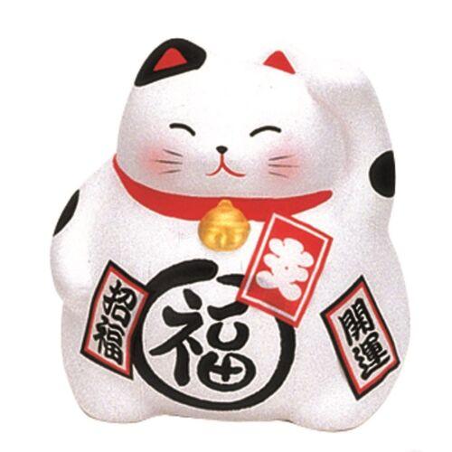 Maneki neko porcelán macska, fehér 9 cm