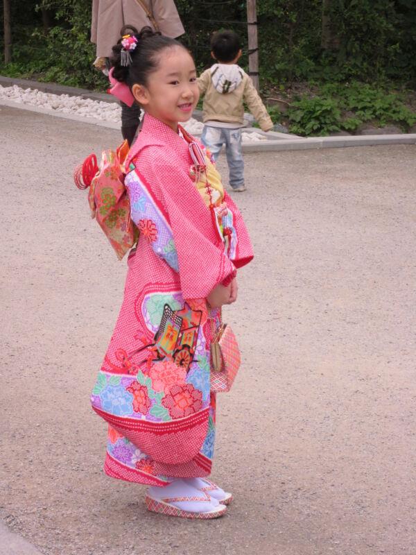 japán lány kimono shichi go san japán ünnep